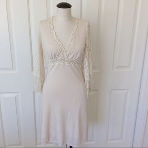 Arden B Sm Cream Shabby Chic Crochet Fringe Dress
